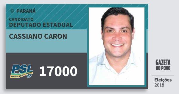 Santinho Cassiano Caron 17000 (PSL) Deputado Estadual   Paraná   Eleições 2018