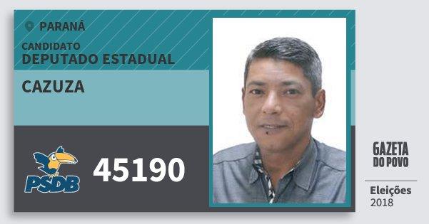 Santinho Cazuza 45190 (PSDB) Deputado Estadual | Paraná | Eleições 2018