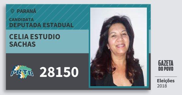 Santinho Celia Estudio Sachas 28150 (PRTB) Deputada Estadual | Paraná | Eleições 2018