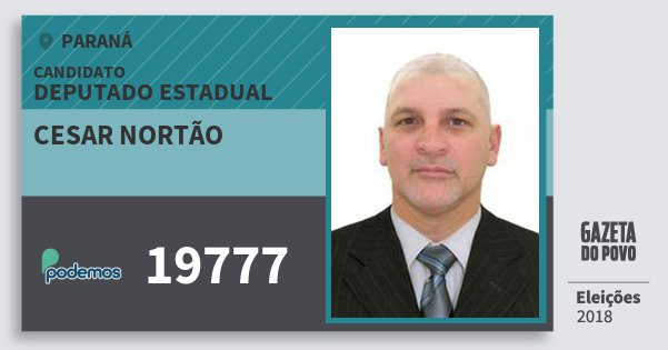 Santinho Cesar Nortão 19777 (PODE) Deputado Estadual | Paraná | Eleições 2018