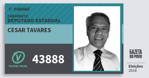Santinho Cesar Tavares 43888 (PV) Deputado Estadual | Paraná | Eleições 2018