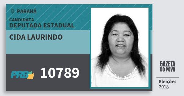 Santinho Cida Laurindo 10789 (PRB) Deputada Estadual | Paraná | Eleições 2018