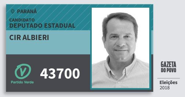 Santinho Cir Albieri 43700 (PV) Deputado Estadual | Paraná | Eleições 2018