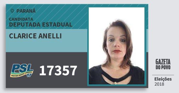 Santinho Clarice Anelli 17357 (PSL) Deputada Estadual | Paraná | Eleições 2018