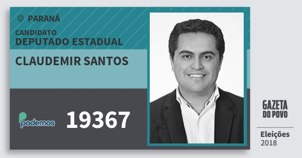 Santinho Claudemir Santos 19367 (PODE) Deputado Estadual | Paraná | Eleições 2018