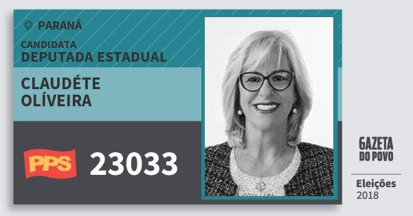 Santinho Claudéte Olíveira 23033 (PPS) Deputada Estadual | Paraná | Eleições 2018