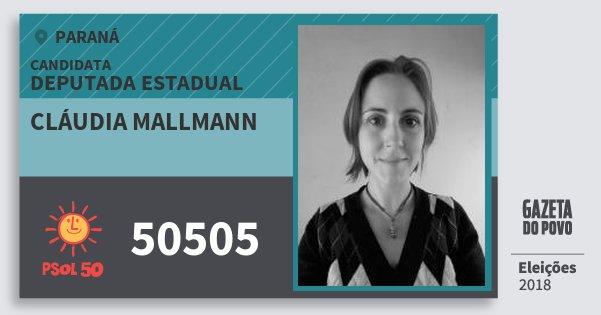 Santinho Cláudia Mallmann 50505 (PSOL) Deputada Estadual | Paraná | Eleições 2018