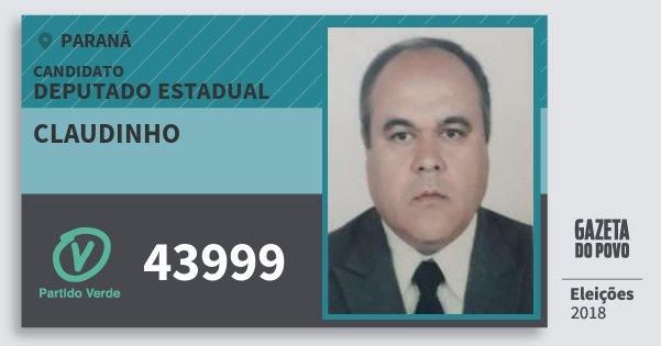 Santinho Claudinho 43999 (PV) Deputado Estadual | Paraná | Eleições 2018