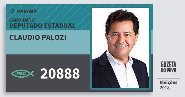 Santinho Claudio Palozi 20888 (PSC) Deputado Estadual | Paraná | Eleições 2018