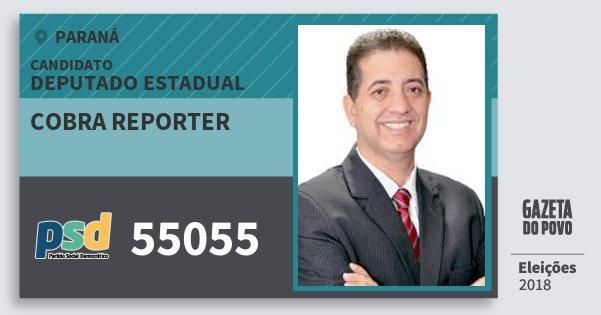 Santinho Cobra Reporter 55055 (PSD) Deputado Estadual | Paraná | Eleições 2018