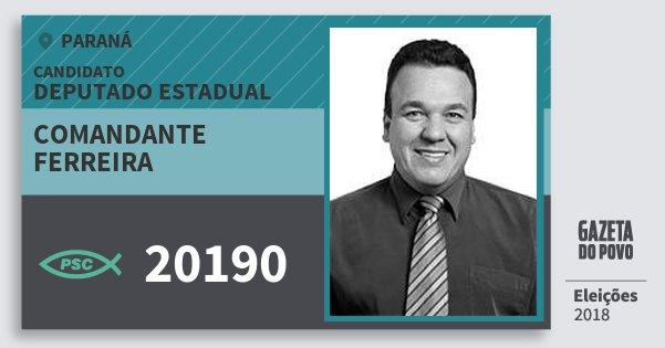 Santinho Comandante Ferreira 20190 (PSC) Deputado Estadual | Paraná | Eleições 2018