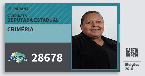 Santinho Criméria 28678 (PRTB) Deputada Estadual | Paraná | Eleições 2018