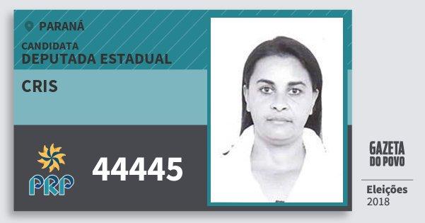 Santinho Cris 44445 (PRP) Deputada Estadual | Paraná | Eleições 2018