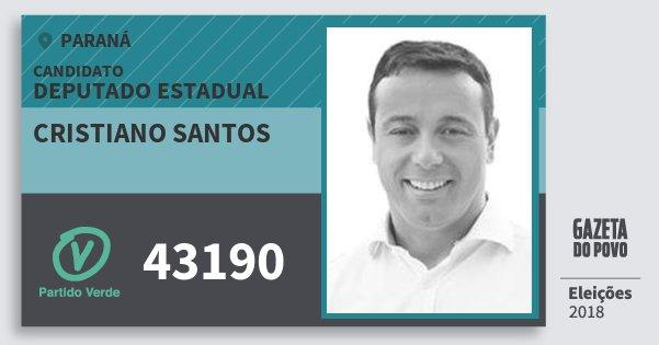 Santinho Cristiano Santos 43190 (PV) Deputado Estadual | Paraná | Eleições 2018