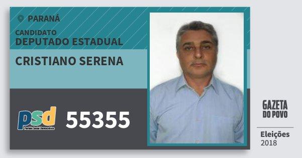 Santinho Cristiano Serena 55355 (PSD) Deputado Estadual | Paraná | Eleições 2018