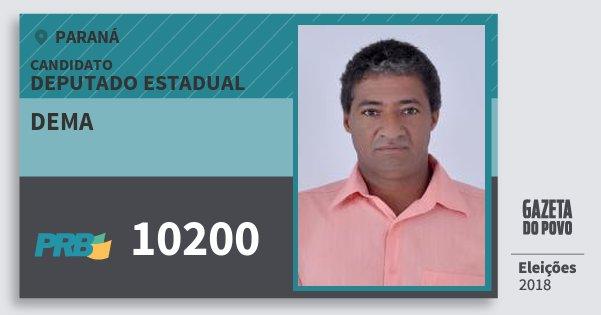 Santinho Dema 10200 (PRB) Deputado Estadual | Paraná | Eleições 2018
