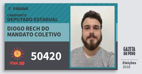 Santinho Diogo Rech do Mandato Coletivo 50420 (PSOL) Deputado Estadual | Paraná | Eleições 2018