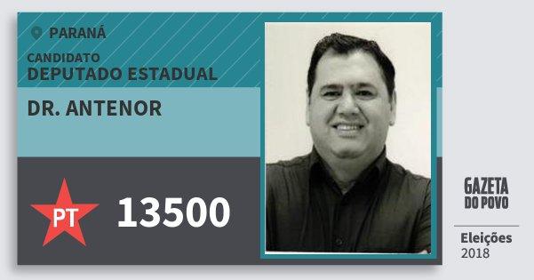 Santinho Dr. Antenor 13500 (PT) Deputado Estadual | Paraná | Eleições 2018