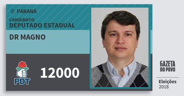 Santinho Dr Magno 12000 (PDT) Deputado Estadual | Paraná | Eleições 2018