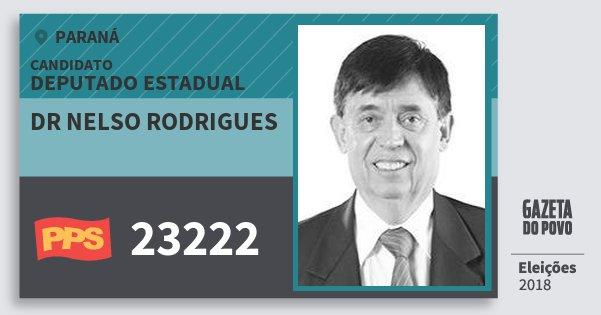 Santinho Dr Nelso Rodrigues 23222 (PPS) Deputado Estadual | Paraná | Eleições 2018