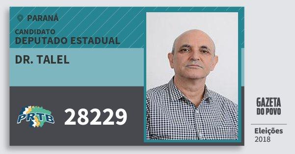 Santinho Dr. Talel 28229 (PRTB) Deputado Estadual | Paraná | Eleições 2018