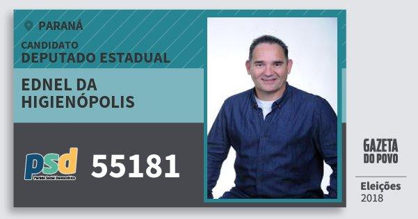Santinho Ednel da Higienópolis 55181 (PSD) Deputado Estadual | Paraná | Eleições 2018