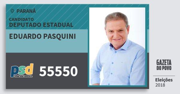 Santinho Eduardo Pasquini 55550 (PSD) Deputado Estadual   Paraná   Eleições 2018