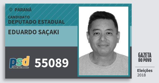 Santinho Eduardo Saçaki 55089 (PSD) Deputado Estadual | Paraná | Eleições 2018