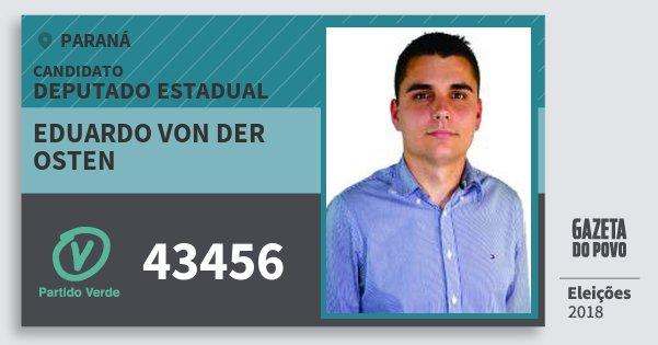 Santinho Eduardo von Der Osten 43456 (PV) Deputado Estadual | Paraná | Eleições 2018