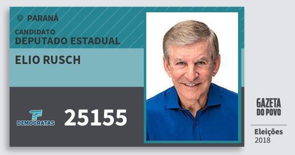 Santinho Elio Rusch 25155 (DEM) Deputado Estadual | Paraná | Eleições 2018