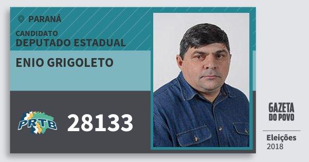 Santinho Enio Grigoleto 28133 (PRTB) Deputado Estadual | Paraná | Eleições 2018