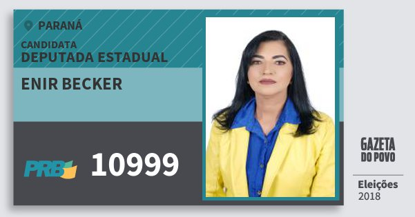 Santinho Enir Becker 10999 (PRB) Deputada Estadual | Paraná | Eleições 2018