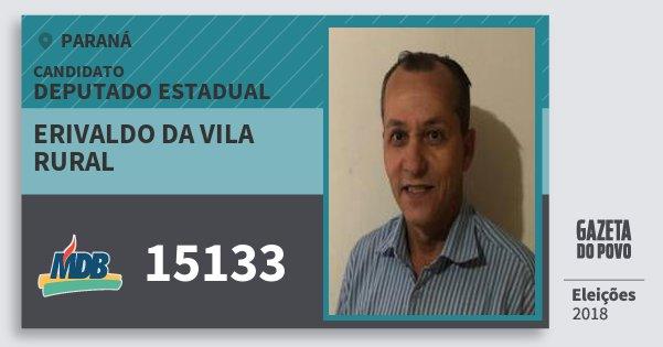 Santinho Erivaldo da Vila Rural 15133 (MDB) Deputado Estadual | Paraná | Eleições 2018