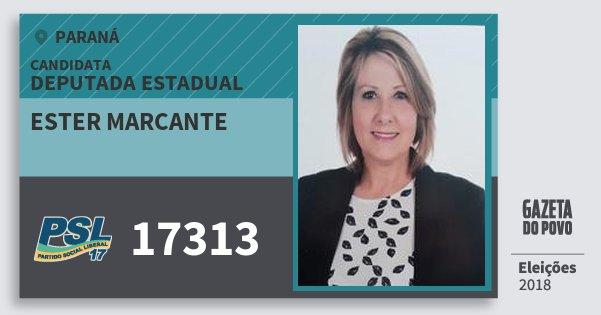 Santinho Ester Marcante 17313 (PSL) Deputada Estadual | Paraná | Eleições 2018