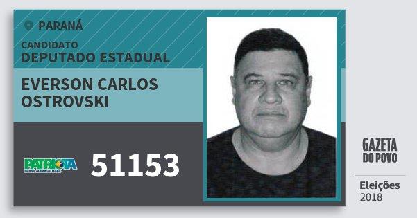 Santinho Everson Carlos Ostrovski 51153 (PATRI) Deputado Estadual | Paraná | Eleições 2018