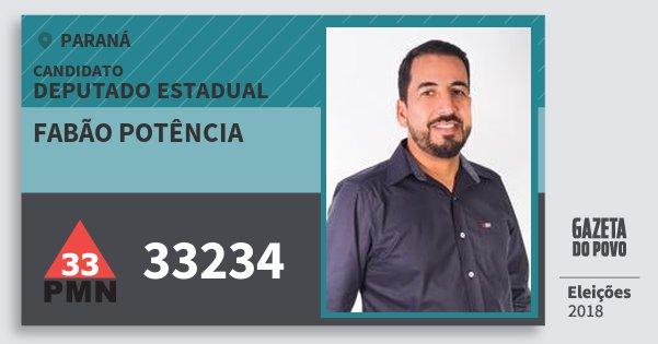 Santinho Fabão Potência 33234 (PMN) Deputado Estadual | Paraná | Eleições 2018