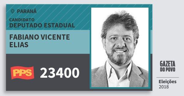 Santinho Fabiano Vicente Elias 23400 (PPS) Deputado Estadual | Paraná | Eleições 2018