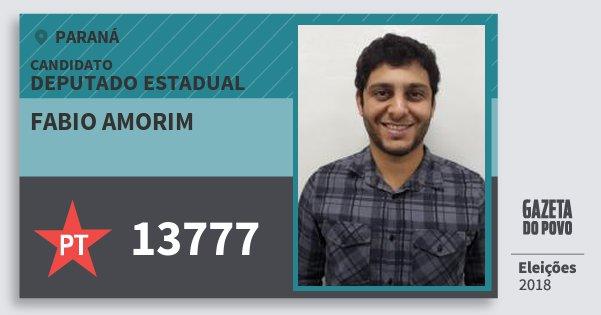 Santinho Fabio Amorim 13777 (PT) Deputado Estadual | Paraná | Eleições 2018