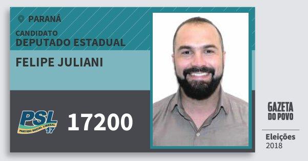 Santinho Felipe Juliani 17200 (PSL) Deputado Estadual | Paraná | Eleições 2018