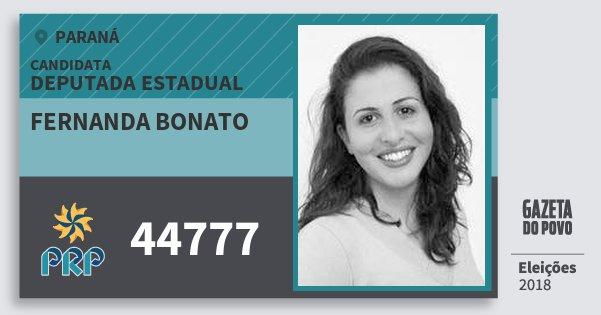 Santinho Fernanda Bonato 44777 (PRP) Deputada Estadual | Paraná | Eleições 2018
