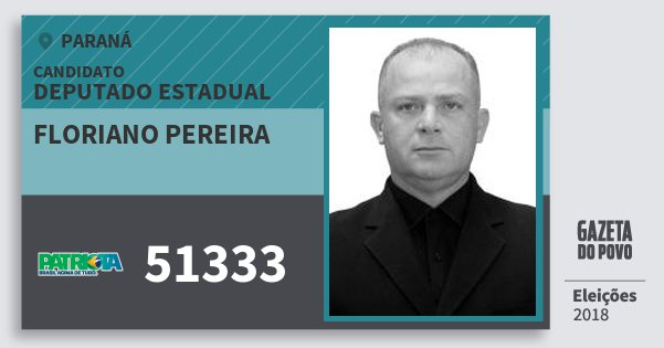 Santinho Floriano Pereira 51333 (PATRI) Deputado Estadual | Paraná | Eleições 2018