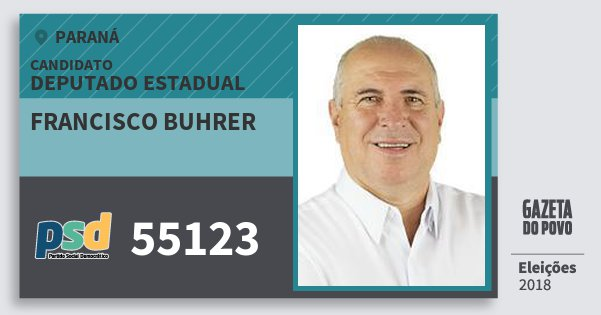 Santinho Francisco Buhrer 55123 (PSD) Deputado Estadual | Paraná | Eleições 2018