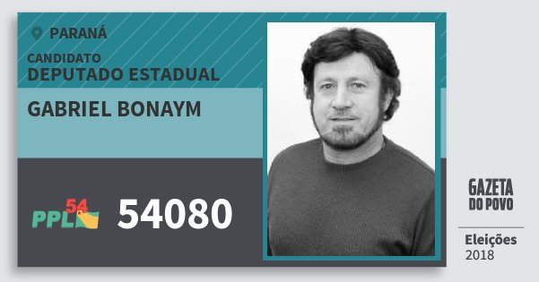 Santinho Gabriel Bonaym 54080 (PPL) Deputado Estadual | Paraná | Eleições 2018