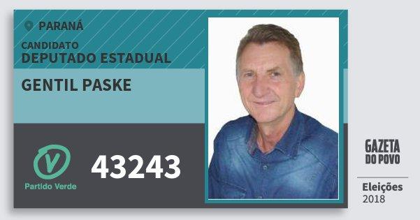 Santinho Gentil Paske 43243 (PV) Deputado Estadual | Paraná | Eleições 2018