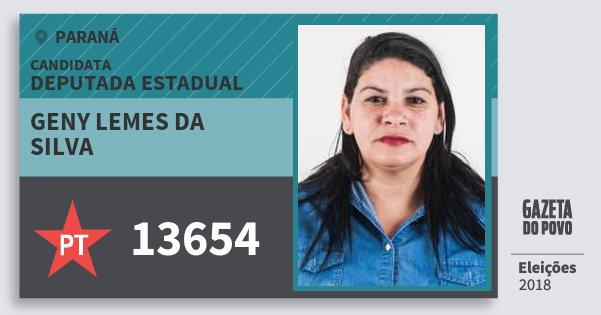 Santinho Geny Lemes da Silva 13654 (PT) Deputada Estadual | Paraná | Eleições 2018