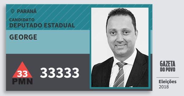 Santinho George 33333 (PMN) Deputado Estadual | Paraná | Eleições 2018