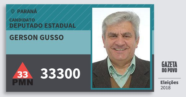 Santinho Gerson Gusso 33300 (PMN) Deputado Estadual | Paraná | Eleições 2018