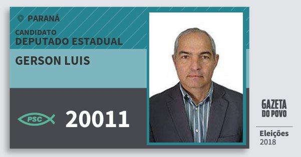 Santinho Gerson Luis 20011 (PSC) Deputado Estadual | Paraná | Eleições 2018