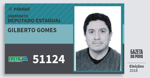 Santinho Gilberto Gomes 51124 (PATRI) Deputado Estadual | Paraná | Eleições 2018