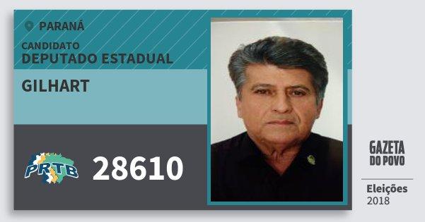 Santinho Gilhart 28610 (PRTB) Deputado Estadual | Paraná | Eleições 2018